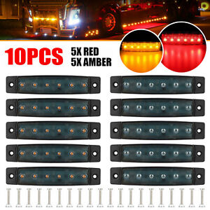 10x Red Amber 3 8 Smoked 6 Led Side Marker Lights For Auto Truck Boat Trailer
