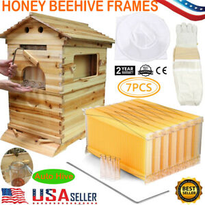 7x Auto Free Run Honey Frame Comb Wooden Bee Hive Beekeeping Beehive Box House