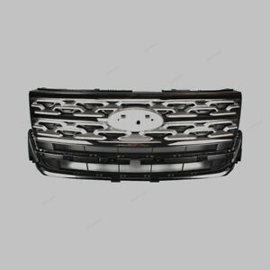 Fits 2018 2019 Ford Explorer Limited Xlt Grille Grill Silver Front Upper