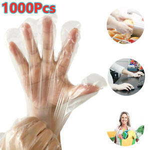 1000pcs Large Plastic Clear Gloves Food Prep Cooking Cleaning Home Healty Safe