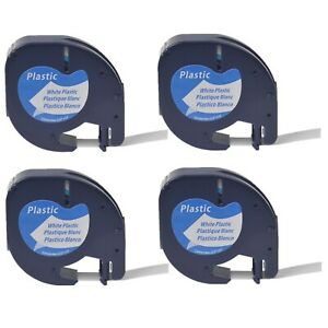 4pk Black On White Tape Label For Dymo Letra Tag Lablemaker Lt 91331 12mm 1 2