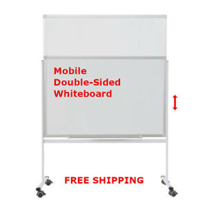 Mobile Rolling Whiteboard Double Sided 60 90cm Large Whiteboard Magnetic Bs