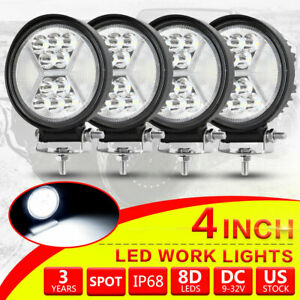 4x 4inch 100w Round Led Work Lights Combo Beam Offroad Fog Driving Light 24v 5