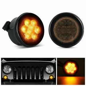 Front Amber Led Turn Signal Lights For 2007 2018 Jeep Wrangler Jk smoke Lens