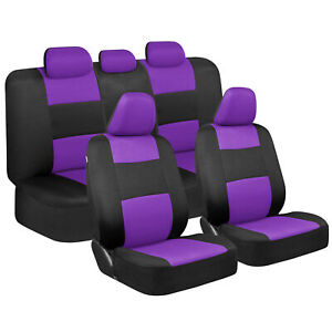 Cute Purple Car Seat Covers For Women Full Set Combo Front Rear Bench Seats