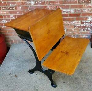 Antique Child S School Desk Oak Wood Black Cast Iron 2