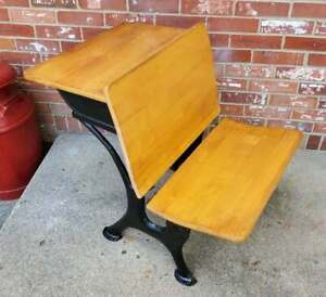Antique Child S School Desk Oak Wood Black Cast Iron Chicago