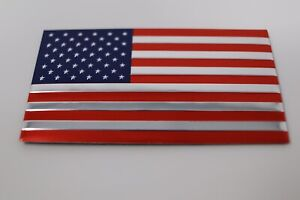 2 Pack Two Aluminum Usa American Flag Metal Emblem Sticker Decal Car Auto Bike