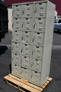 Hallowell U3258 6g pt Box Compartment school gym lockers locker boys Cubby Metal