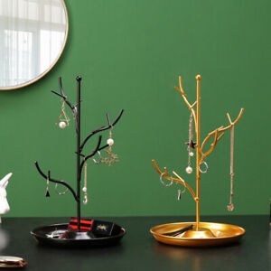 Golden Tree Branches Design Necklace Display Rack Jewelry Showing Stand Earring