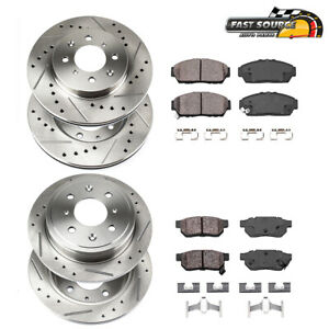 For Acura Integra Honda Civic Front Rear Drill Slot Brake Rotors Ceramic Pads
