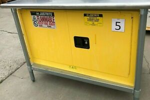 Justrite Sure grip Ex Flammable Liquid Storage Cabinet W Stainless Steel Table