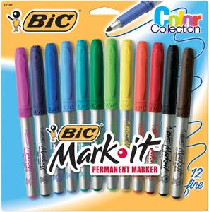 Bic Mark it Fine Point Permanent Markers 12 pkg assorted Colors