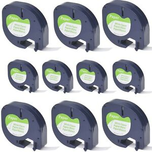 10pk Black On White Tape Label For Dymo Letra Tag Lablemaker Lt 91330 12mm 1 2