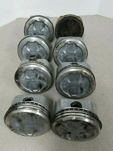 350 Chevy Pistons Cast 060 Over Dished 4 Reliefs Set 8 With Pins Some Rings