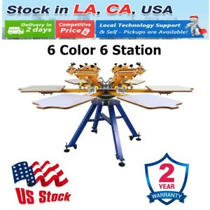 6 Color 6 Station Silk Screen Printing Machine Press T shirt Printer Carousel