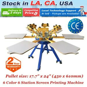 Usa 6 Color 6 Station Screen Printing Machine Press Diy T shirt Printer Carousel