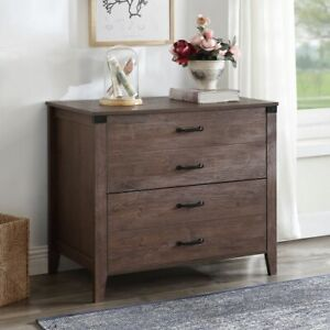 Home Office Wood Filing Cabinet Entryway Lateral File Cabinet W 2 Drawers Brown
