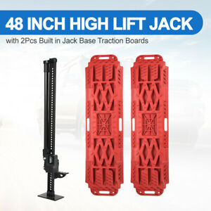 2x 48inch High Lift Bumper Jack Traction Tracks Recovery Boards W jack Lift Base
