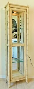 Antique Vtg 68 Faux Bamboo Wood Glass Lighted Mirrored Display Curio Cabinet