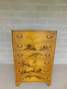Union National Jamestown Lacquer Chinoiserie Decorated Tall Chest 50 H