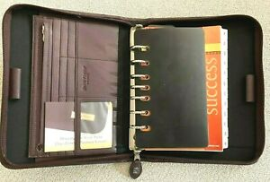 Day Timer Planner Cover Brown Leather Portfolio Diary Zip Folder Organize 7 Ring