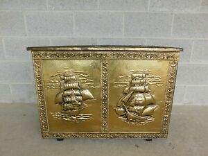 Vintage Brass Covered Sailing Ships Lift Lid Storage Chest