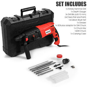 1 2 Electric Rotary Hammer Drill 3 Modes Sds plus Chisel Kit 1100w With Bits
