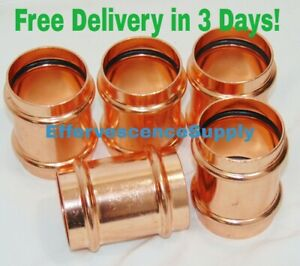 lot Of 5 2 Propress Copper Coupling No Stop Lead Free