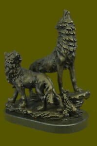 Bronze Sculpture Hand Made Statue Animal Large Signed Lopez Two Wolves Wolf Art