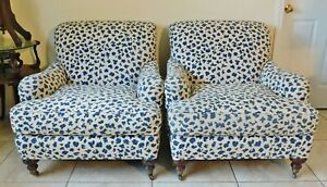 Pair Oversized Designer Sherrill Blue White Leopard Upholstered Club Arm Chairs