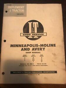 I T Minneapolis Moline And Avery Shop Manual Mm 2 A R V Bf Gta Gtb U Za Zt