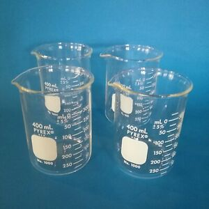 4 Pyrex 1000 400 Brand 1000 Griffin Low form Graduated Beakers 400ml New