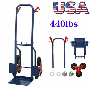 440lbs Heavy Duty Dolly Hand Truck Warehouse Cart Stair For Climbing Moving Bs