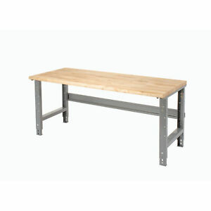 Adjustable Height Workbench C channel Leg 72 w X 36 d 1 3 4 Maple Top Safety