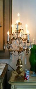 Antique Vtg Italian Gold Tole Wood Crystal Chandelier Girandole Candelabra Lamp