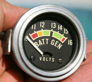 Stewart Warner Vintage Volt Voltmeter Batt Gen Gauge Rear Light W Calibration D