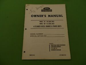 1962 Ford Industrial Engines Power Units Owners Manual 4 Cylinder Diesel