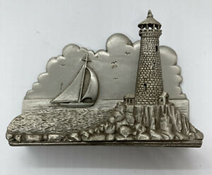 Vintage Pewter Business Card Holder Sailboats Lighthouse Nautical By Skytech