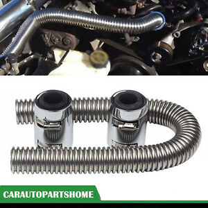 36 Radiator Hose Upper Lower Flexible Stainless Steel W Chrome Caps Kit