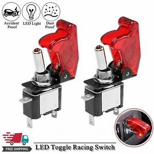 2pcs Red Cover Led Toggle Switch Racing Spst On Off 20a Atv 12v For Car Truck