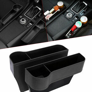 2 Pcs Car Seat Gap Catcher Organiser Storage Box Pocket W Cup Holder Side