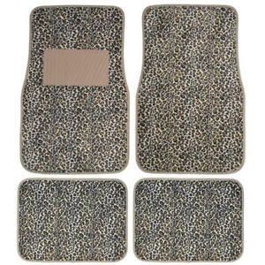 4pc Cheetah Car Floor Mats For Auto Carpet Semi Custom Fit Heavy Duty W heel Pad