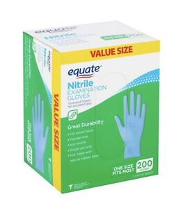 Equate Nitrile Examination Gloves Fit Either Hand Powder free One Size 200 Count