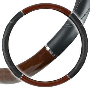 Motor Trend Leather Grip Wood Steering Wheel Cover For Trucks Big Rigs Large 18