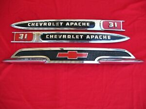 1959 Chevrolet Chevy Apache 31 Truck Hood Emblem And Fender Spears 1958