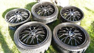 set Of 5 20 In X 9 5 In Black Helo Rims Falken Ohtsu Tires 5x115 Lug Pattern
