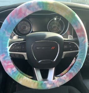 New Steering Wheel Cover Tie Dye Blue Pink Yellow