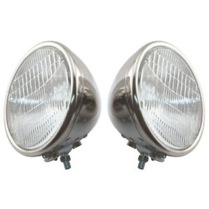 Model A Ford Headlights Complete Stainless Steel 1 Bulb Type Ford Script