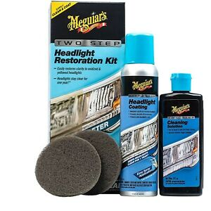 Meguiars Headlight Restoration Kit Restore Clarity 2 Step Cleaning Solution New